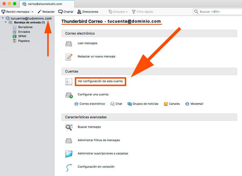 Cómo configurar tu correo corporativo en thunderbird Al Sur Estudio firma
