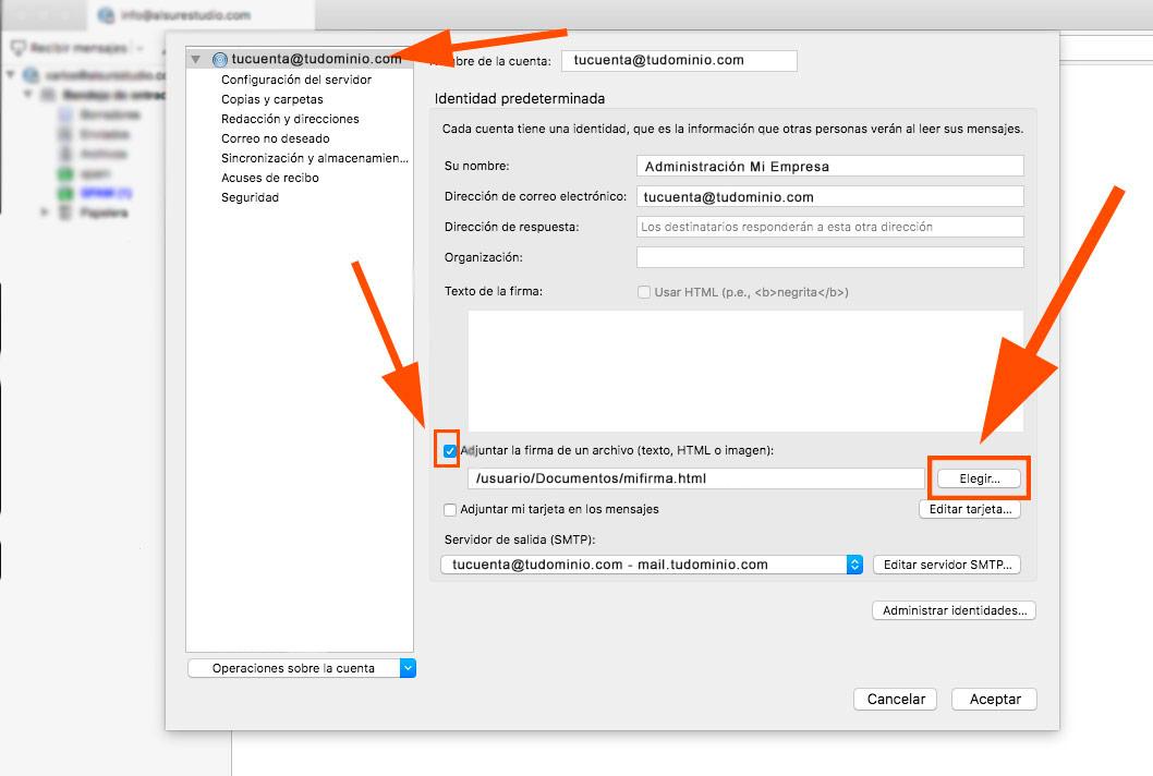 Cómo configurar tu correo corporativo en thunderbird Al Sur Estudio firma html
