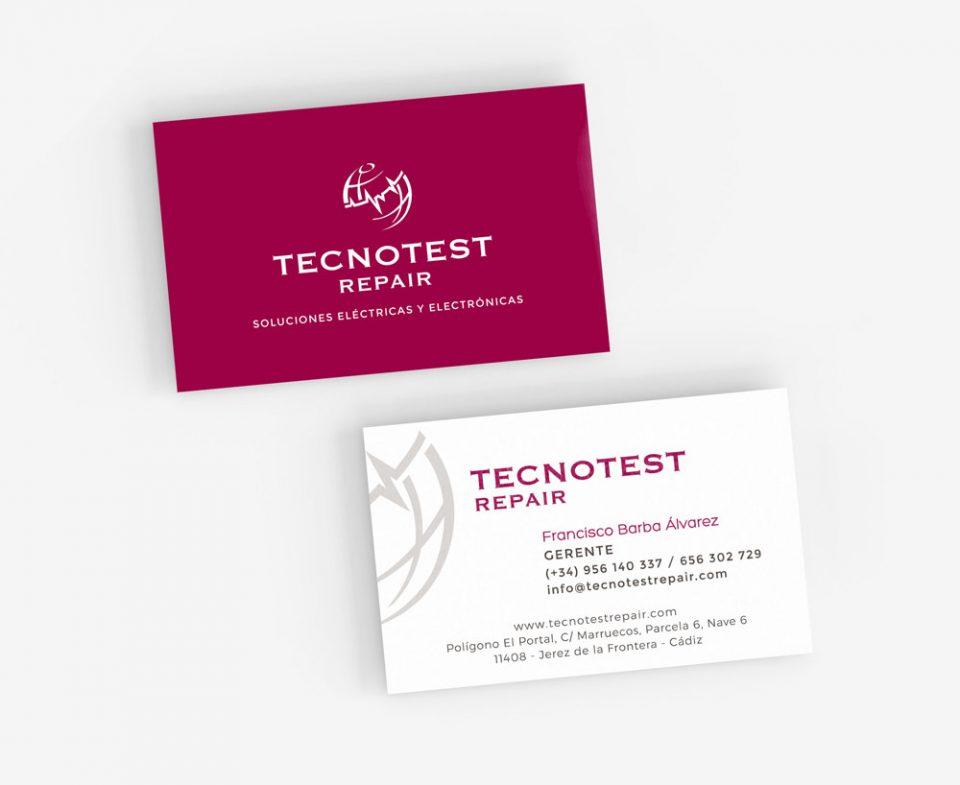 Tecnotest Repair Restyling de marca tarjetas de visita