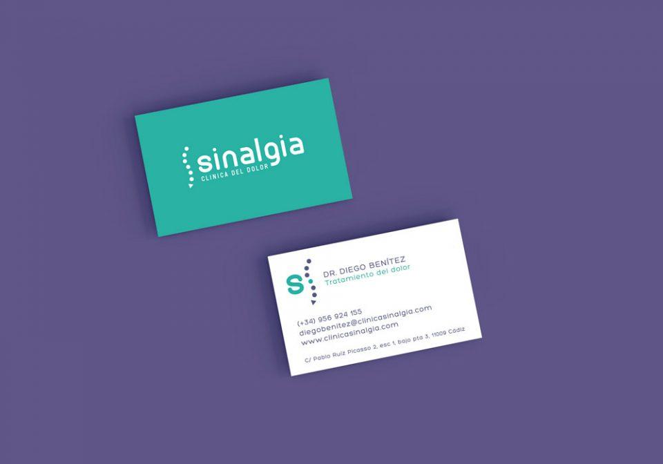 Clínica del dolor Sinalgia Branding Al Sur Estudio Cádiz El Puerto Diseño tarjetas de visita