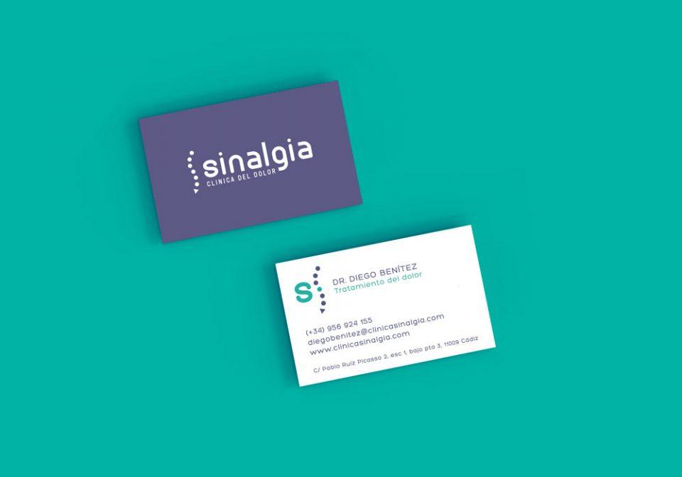 Clínica del dolor Sinalgia Branding Al Sur Estudio Cádiz El Puerto Diseño tarjetas de visita Cádiz